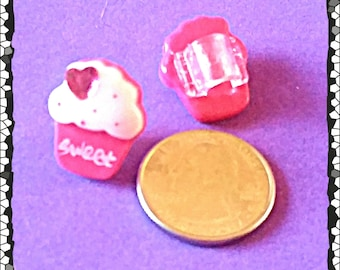 """Tube Trinkets: """"Sweet"""" Pink Jeweled Cupcakes!  Select quantity 2 for a pair!"""