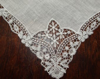 Vintage Wedding Bridal Handkerchief Linen and Lace Hanky