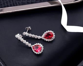 Red Bridal Earrings, Wedding Earrings Red, Jeweled Earrings, Crystal Earrings, CZ Earrings, Rhinestone Earrings, Bridesmaids Earrings