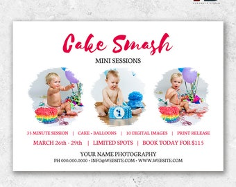 Cake Smash Mini Sessions,  Cake Smash Photo Sessions, Photography Mini Session, Cake Smash Minis, Photography Template, Marketing Board
