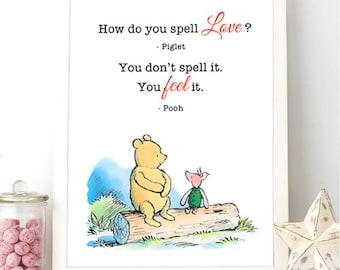 Printable Milne Quote - Winnie the Pooh - Piglet - How do you spell love
