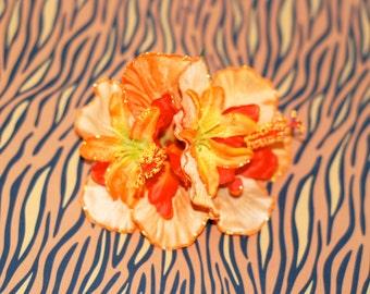 Tangerine Orange Hibiscus & Tiger Lily Hawaiian Tiki Pinup Glitter Hair Flower w/ Rhinestone Accent