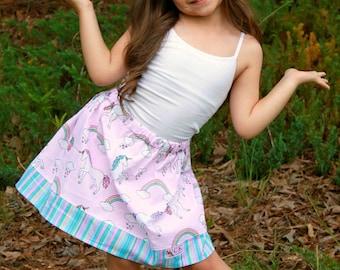 Unicorns and  Pastel Rainbows  Skirt (18 mos, 2T, 3T, 4T, 5, 6, 7, 8, 10)