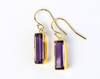 Adira Purple Amethyst Bar Drop Earrings Gold Dangle Earrings February Birthstone Jewelry Statement Gemstone Bar Earrings Unique vertical bar