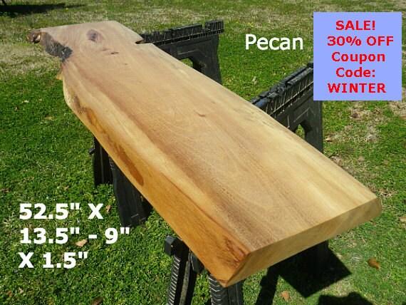 Live edge pecan wood slab finished diy floating shelf natural for Finished wood slabs