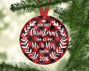 First Christmas Ornament Married Wedding Ornament Wedding Gifts for Couple Personalized Christmas Ornaments Mr and Mrs Ornament Plaid Red