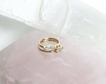 Solid 14k Yellow Gold horizontal east west Marquise Sapphire Ring Claw Prong Brilliant Facet Cut Raised Thin Dainty Band Marquis Gemstone