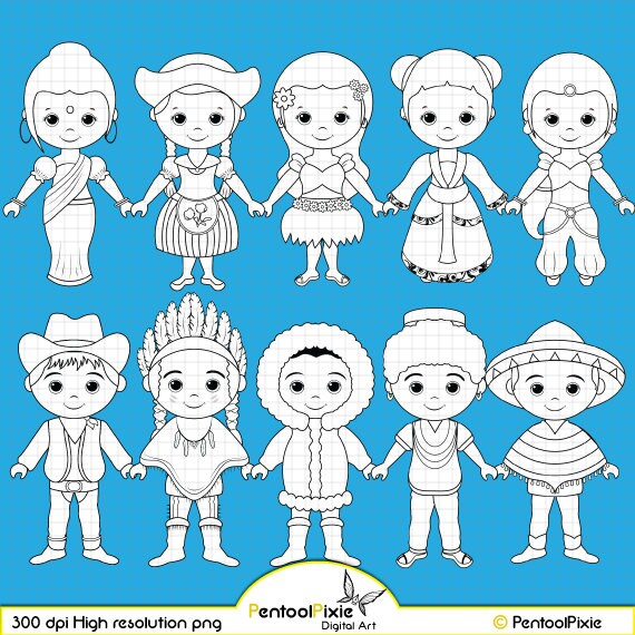 Children around the World Digital Stamp clipart World