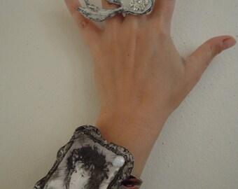 RHIANNON, Stevie Nicks, Cuff Bracelet, Handpainted Aluminum Cuff, Handmade Photo Brooch, ANy Photo, Any Color Sheme