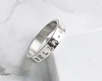 Sterling Silver Personalised Ring | Hand Stamped Silver Message Ring | Custom Ring | Initials Names Quotes | Mothers Day Gifts for Her