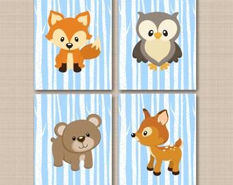 Woodland Nursery Wall Art Woodland Wall Art Baby Boy Blue Nursery Decor Forest Animals Wall Art Bear Fox Owl Deer Wall Art UNFRAMED 4 C320