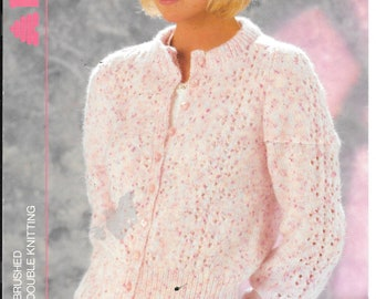 Nice original knitting pattern for a ladies cardigan using double knit wool.  Fit sizes 32-40 ins/ 81-102 cms