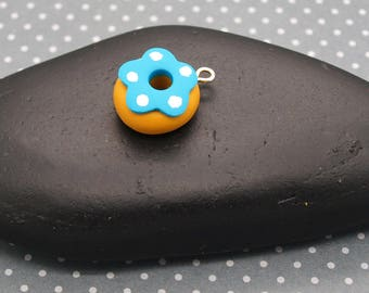 """charm """"little blue DONUTS""""with stud set of 2"""