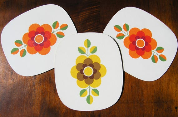 Floral Breakfast Boards, Set of 3 Mid Century Serving Plates, 1970s Flower Power Cutting Boards, Floral Bread Boards Brotzeit Plates Germany