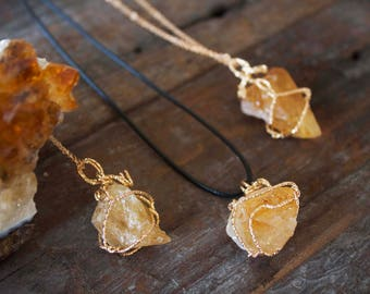 Citrine Necklace Pendant Chunky Raw Citrine Natural Crystal Healing Rose Gold wrapped Gemini Cancer June July Birthday Gift Unusual Unique