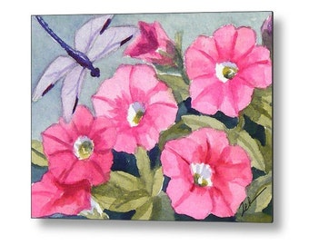 Dragonfly and Pink Flowers Watercolor Print on Wood, Cottage Chic Decor, Printed Garden Wall Art by Janet Zeh Zehland