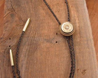 Bolo Tie - Western Wear - Men's Accessories - Antique Brass Handcrafted Shotgun Casing Bolo Tie - Men or Women's Leather Bolo Ties