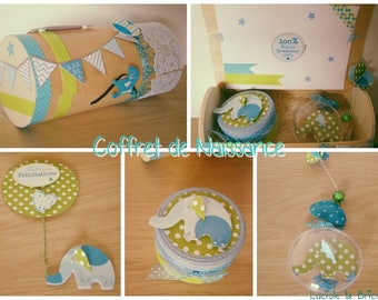 Baby boy blue and green gift box: box guirlance tooth, and congratulations card
