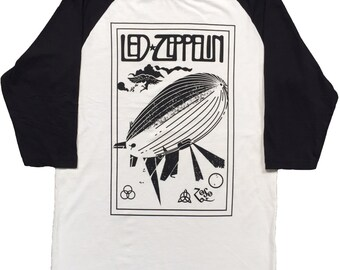 A Tribute To Led-Zeppelin Men's Baseball 3/4 Sleeve Tee New