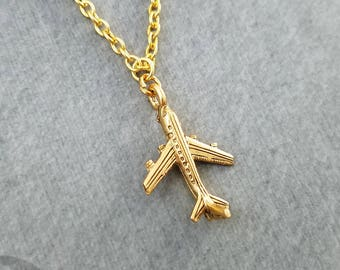 Airplane Necklace SMALL Plane Necklace Plane Charm Necklace Travel Jewelry Travel Gift Long Distance Relationship Gift Airplane Jewelry