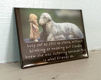 """Porcelain Doll Photography Adventures of Claudia Funny Magnet Dollhouse Photo """"Lucy Sat As Still As Stone"""""""