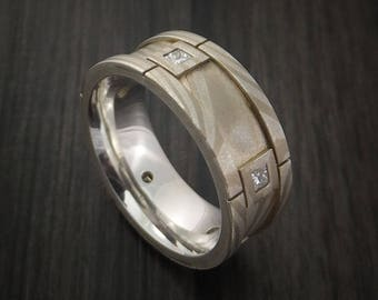 Full mokume gane ring with palladium and silver and six beautiful diamonds custom made