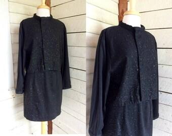 80s 90s Black sequin suit - Gene Ewing Bis - jacket and skirt - zip pencil skirt - 2 piece - exposed zipper