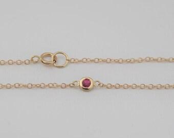 Ruby Bezel Bracelet in 14K Yellow Gold