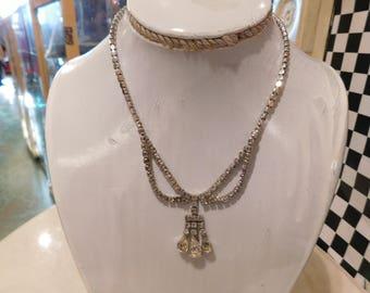 Vintage rhinestone necklace 1950-60 / Art deco style/  old hollywood