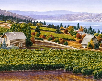 """20% OFF - Vineyard Art - """"Wine Country"""" - Limited Edition Watercolor Print of Okanagan Valley Scene - Free Shipping to US and Canada"""