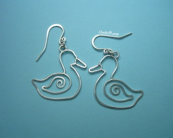 Swirl duck sterling silver earrings