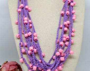 Purple Pink Crochet Cotton Necklace, Crochet Necklace, Multi Strand Crochet Handmade Necklace , OOAK , Wearable Art Boho Jewellery