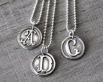 Personalized Silver Wax Seal Initial Necklace - Personalized Womens Initial Charm with Sterling Silver Ball Chain