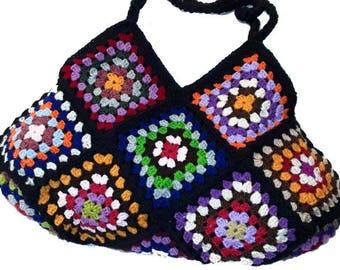 Crochet XXL-Bag * RetrO BAG *  Granny Square,  hippiebag, upcycled bag, totem, beachbag, shopper, crochet shopping bag,