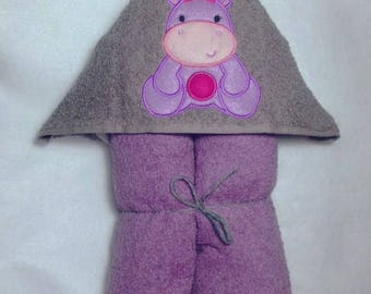 Baby Girl Hippo Hooded Towel, Hippo Hooded Towel, Girly Hippo Towel, Kids Hooded Towel, Personalized Kids Towel, Character Hooded Towels