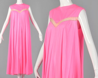 Large 1960s Claire Sandra Lucie Ann Deadstock Pink Nightgown Flowy Nightgown Sheer Stripe Rhinestones Nylon 60s Vintage