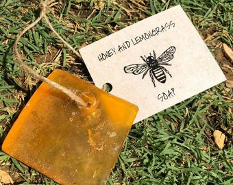 Honey and lemongrass soap made with glycerine,honey and a little love.