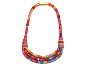Colorful Textile Bib Statement Necklace For Women, Fabric Rope Necklace For Her, Unique Jewelry Gift
