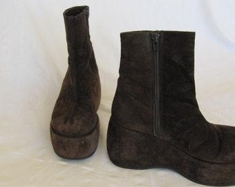Vintage Club Kid Brown Boots Faux Suede Funky Mod Retro Nine West