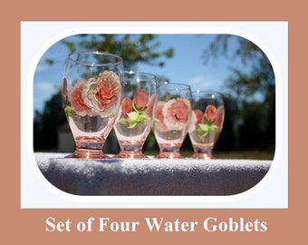 Set 4 Water Goblets, 9oz glass, hand painted glass, Juice glasses, Peach tinted glass, hand painted roses, hand painted flowers, Item #PWG4