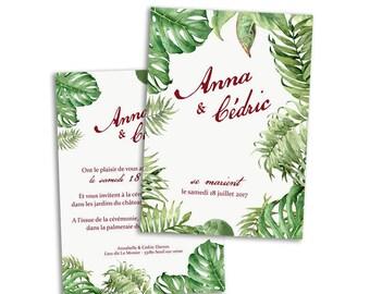 100 x Tropical wedding invitation