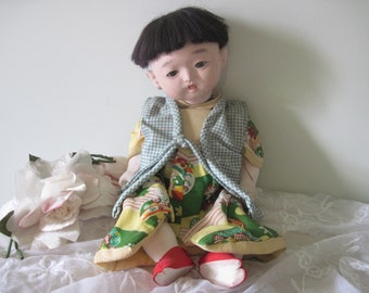 Vintage Japanese Ichimatsu Gofun Baby Doll C1940