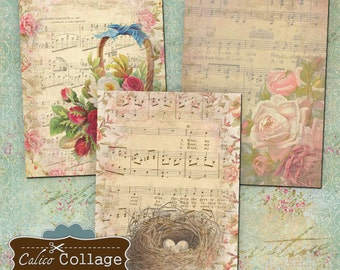 Vintage Sheet Music Digital Collage Sheet Printable Download 2.5x3.5 ATC Size Images French Images for Earrings Cards, Jewelry Holders