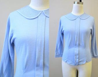 1950s Powder Blue Knit Blouse