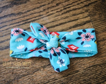 Top Knot Headband, Baby Headband, Knot Baby Headband, Top Knot, Floral, Baby Girl - Blue Floral