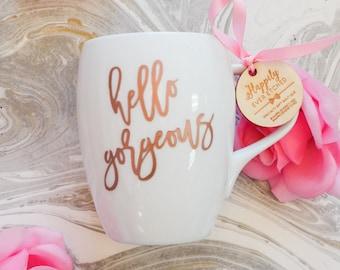 Hello Gorgeous Rose Gold Coffee Mug (ONE) Engraved Dansk Fjord White Porcelain Mug, Wedding Gift, Engagement Gift, Newlyweds Gift, Birthday