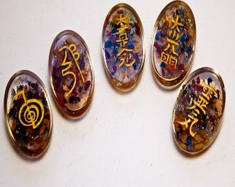 ORGONE 7 Chakra REIKI SYMBOL Set of 5 Reiki Symbols