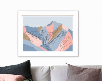 Remarkables Ski Resort Trail Map. Modern Geometric Art Print. The Remarkables Mountain Range, Queenstown, New Zealand