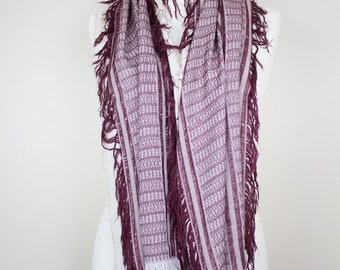 Red & White Afghan Womens Scarf - Ladies Scarf