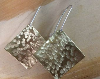 Brass Hammered Earrings with Sterling Silver Posts